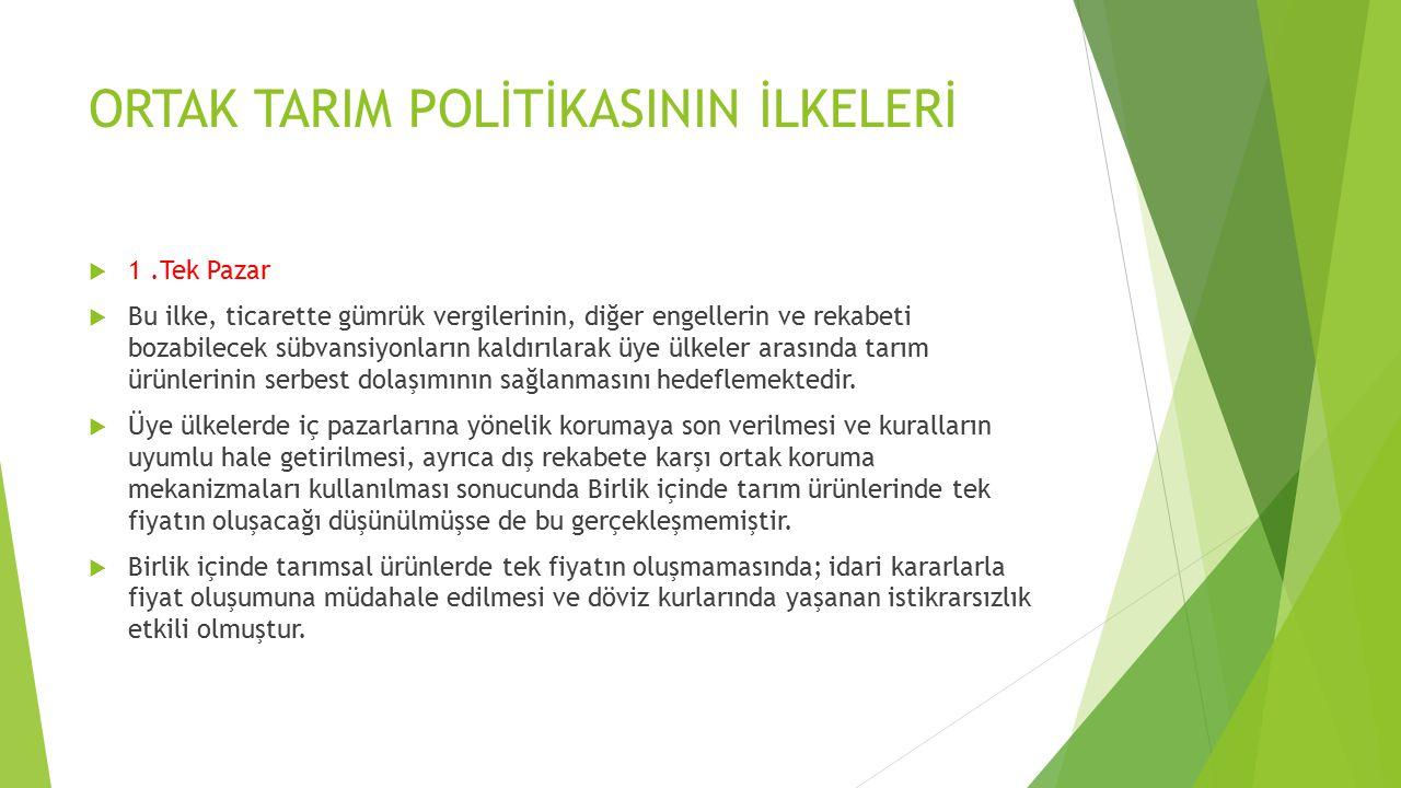 ORTAK TARIM POLİTİKASININ İLKELERİ