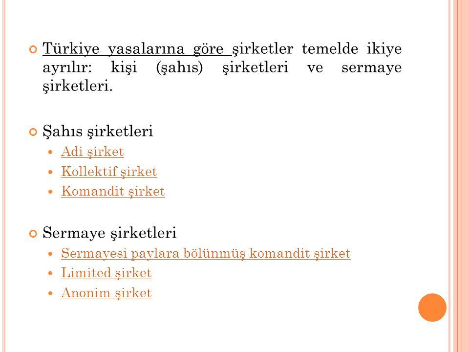 Türkiye yasalarına göre şirketler temelde ikiye ayrılır: kişi (şahıs) şirketleri ve sermaye şirketleri.