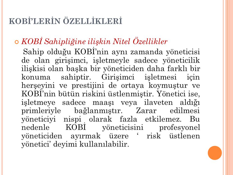 KOBİ'LERİN ÖZELLİKLERİ