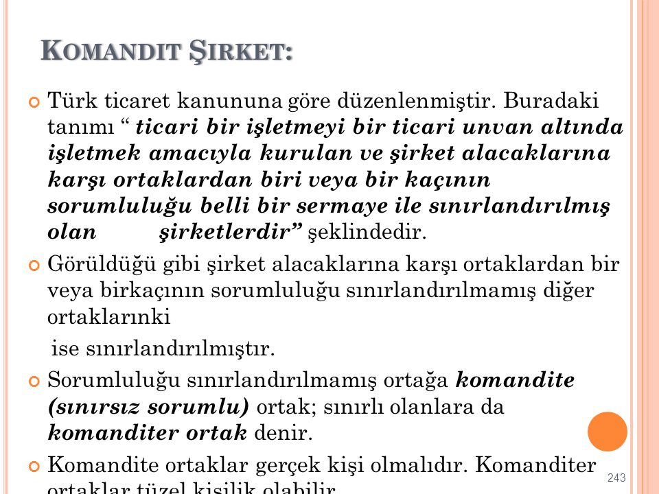 Komandit Şirket: