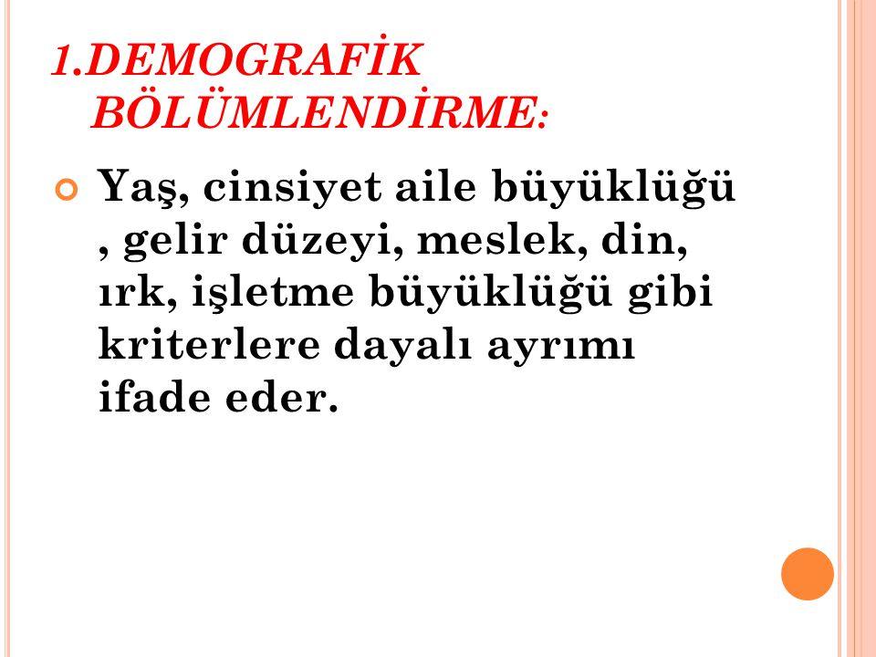 1.DEMOGRAFİK BÖLÜMLENDİRME:
