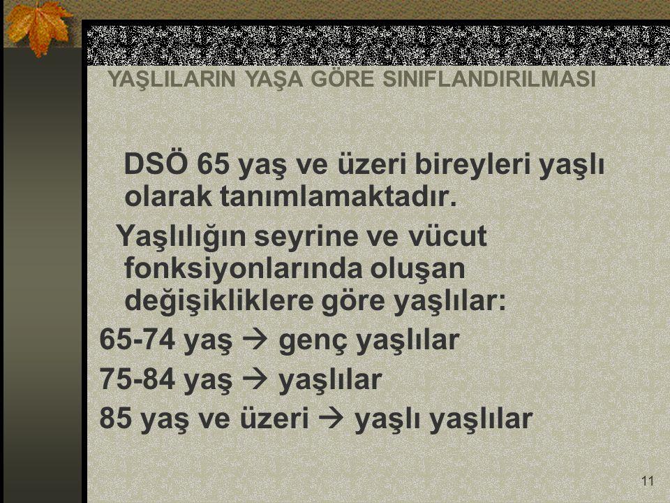 DSÖ 65 yaş ve üzeri bireyleri yaşlı olarak tanımlamaktadır.