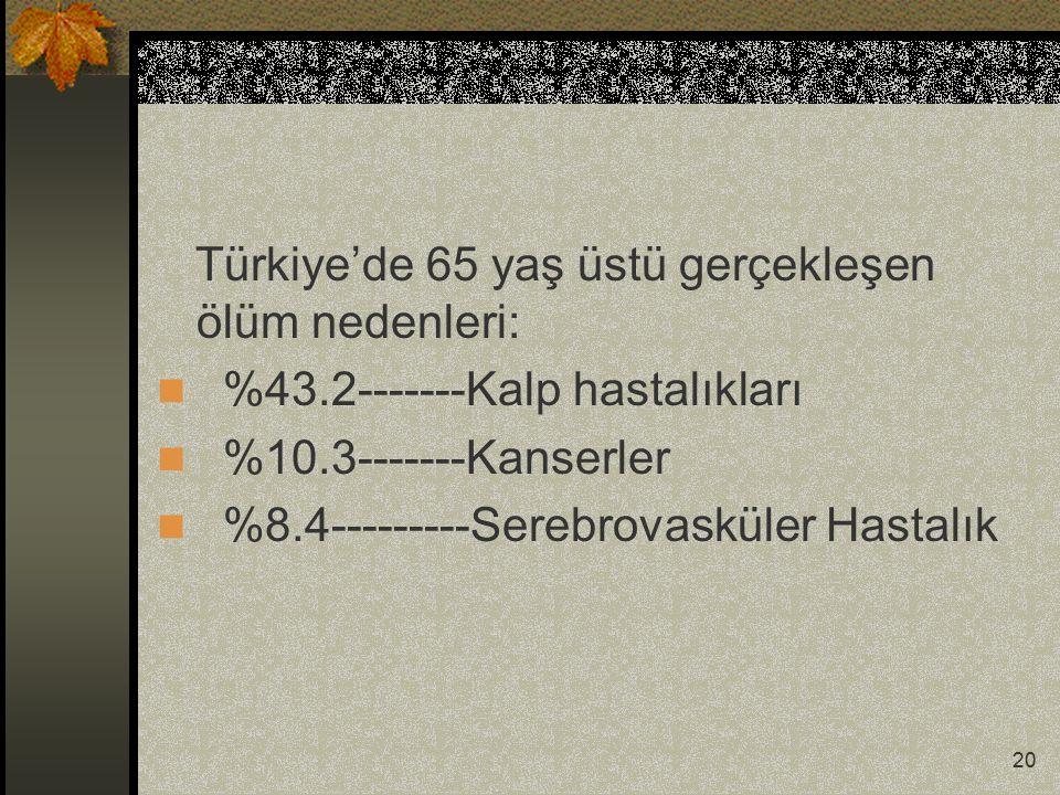 Türkiye'de 65 yaş üstü gerçekleşen ölüm nedenleri: