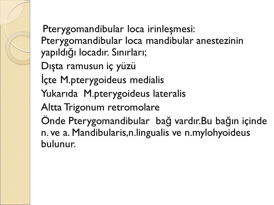 Pterygomandibular loca irinleşmesi: Pterygomandibular loca mandibular anestezinin yapıldığı locadır. Sınırları;