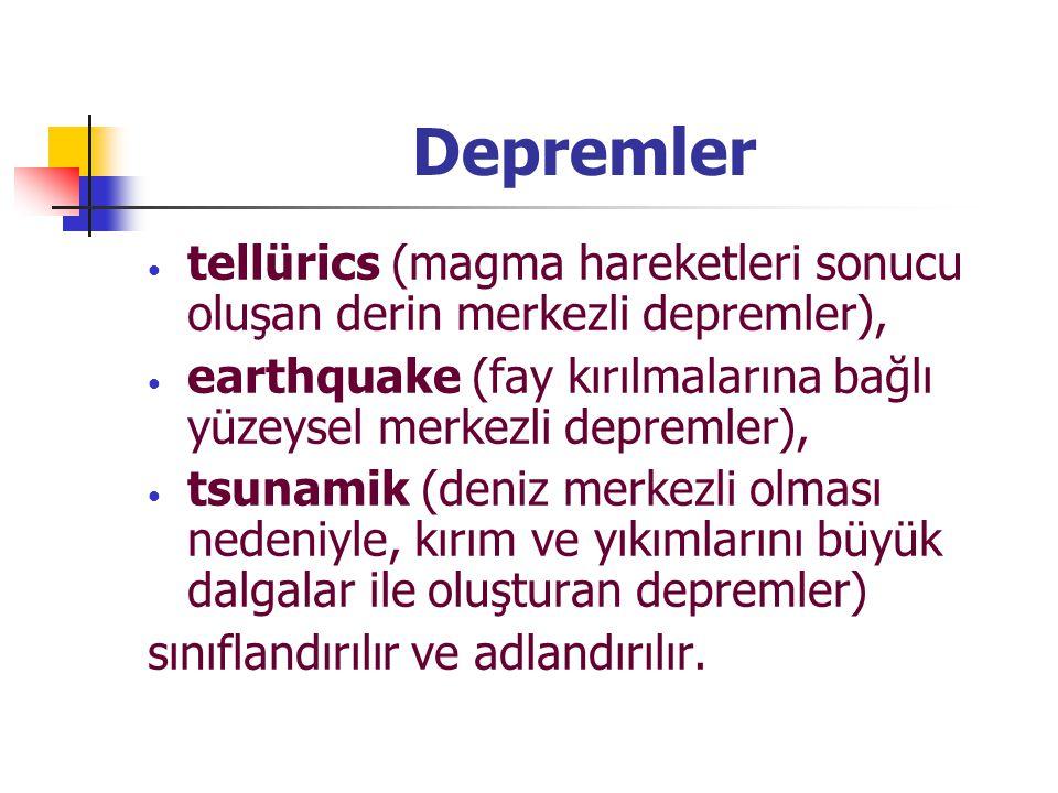 Depremler tellürics (magma hareketleri sonucu oluşan derin merkezli depremler), earthquake (fay kırılmalarına bağlı yüzeysel merkezli depremler),