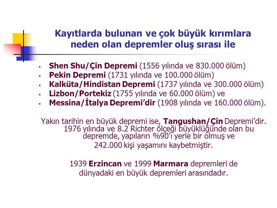 Kayıtlarda bulunan ve çok büyük kırımlara neden olan depremler oluş sırası ile