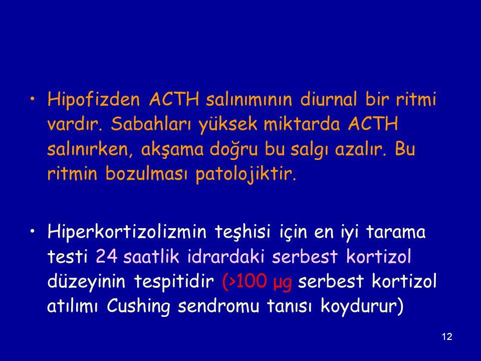 Hipofizden ACTH salınımının diurnal bir ritmi vardır