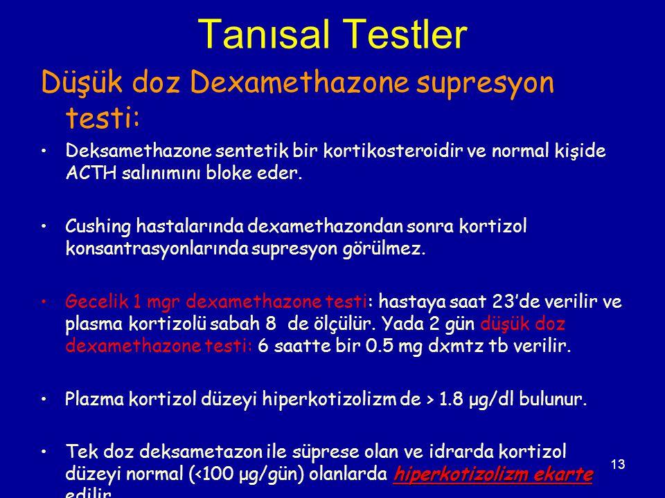 Tanısal Testler Düşük doz Dexamethazone supresyon testi:
