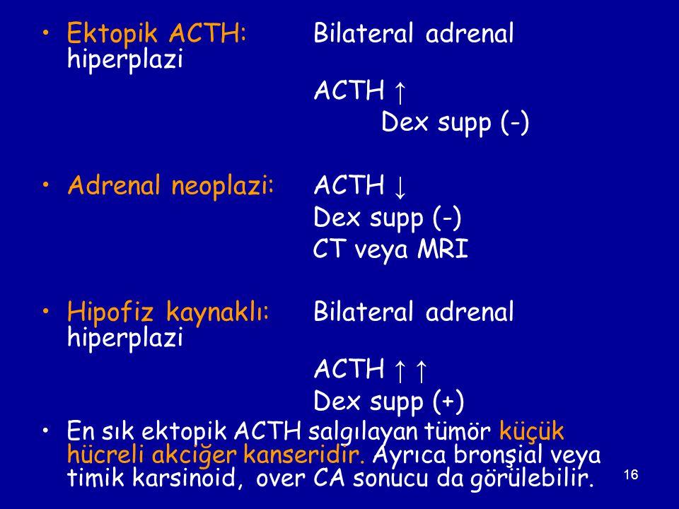 Ektopik ACTH: Bilateral adrenal hiperplazi ACTH ↑ Dex supp (-)