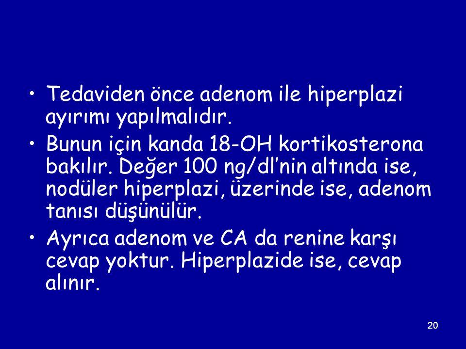 Tedaviden önce adenom ile hiperplazi ayırımı yapılmalıdır.