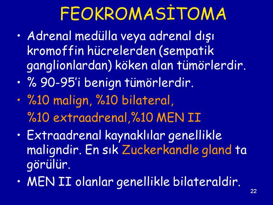 FEOKROMASİTOMA Adrenal medülla veya adrenal dışı kromoffin hücrelerden (sempatik ganglionlardan) köken alan tümörlerdir.
