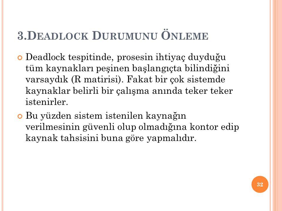 3.Deadlock Durumunu Önleme