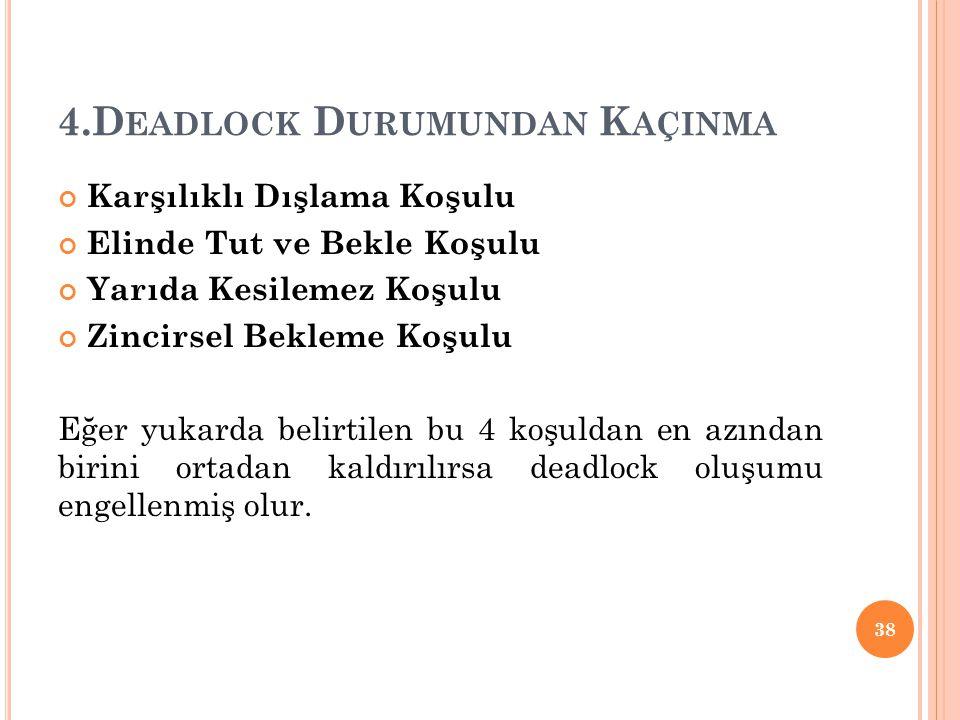 4.Deadlock Durumundan Kaçinma