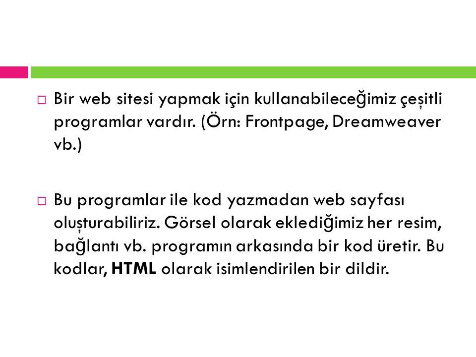 Bir web sitesi yapmak için kullanabileceğimiz çeşitli programlar vardır. (Örn: Frontpage, Dreamweaver vb.)