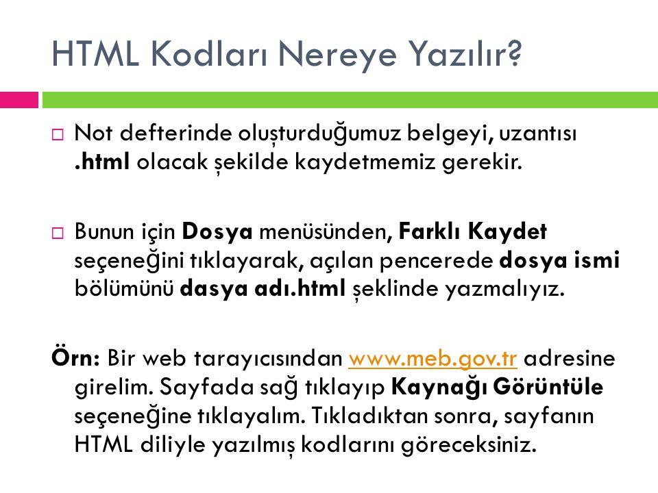HTML Kodları Nereye Yazılır