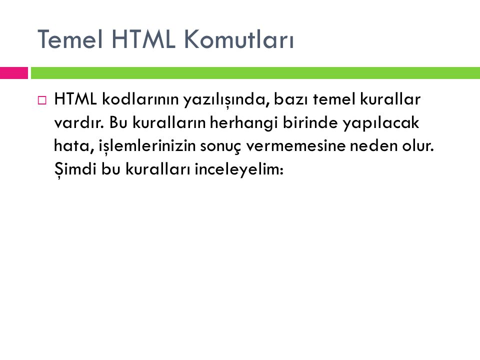 Temel HTML Komutları