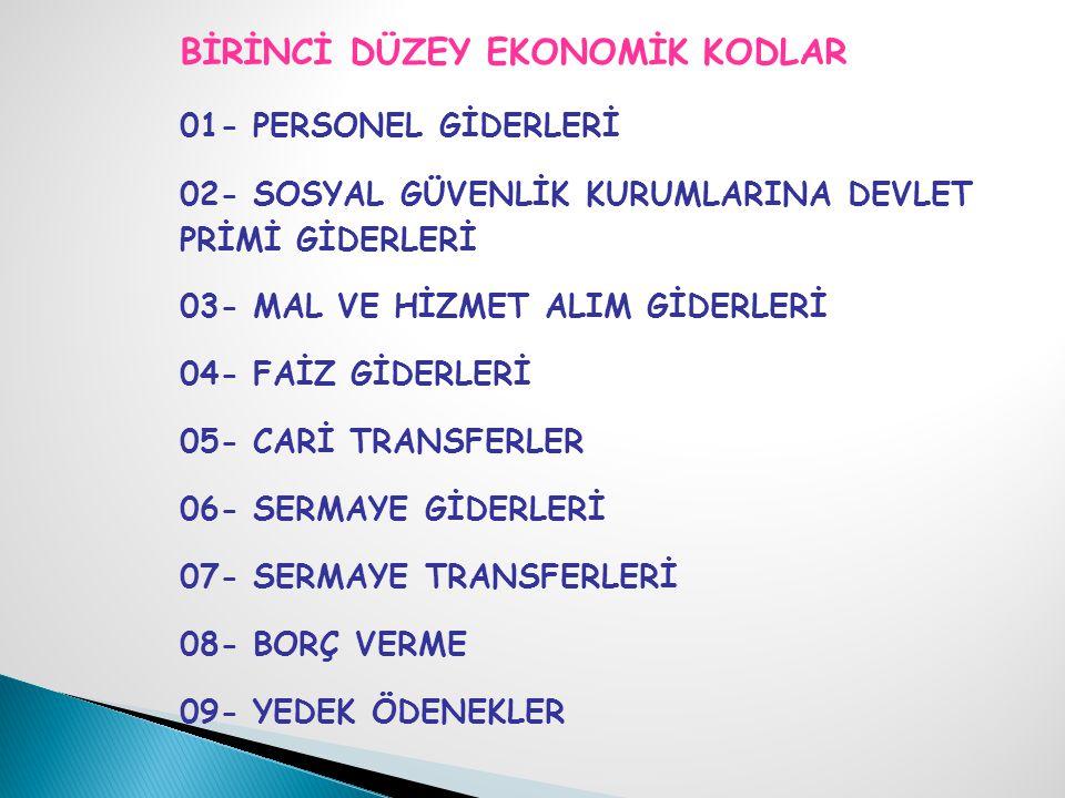 BİRİNCİ DÜZEY EKONOMİK KODLAR 01- PERSONEL GİDERLERİ