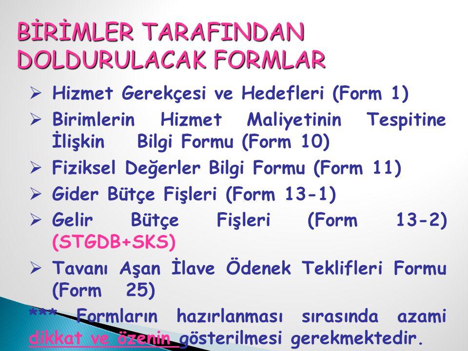BİRİMLER TARAFINDAN DOLDURULACAK FORMLAR