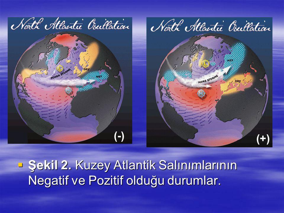 (-) (+) Şekil 2. Kuzey Atlantik Salınımlarının Negatif ve Pozitif olduğu durumlar.