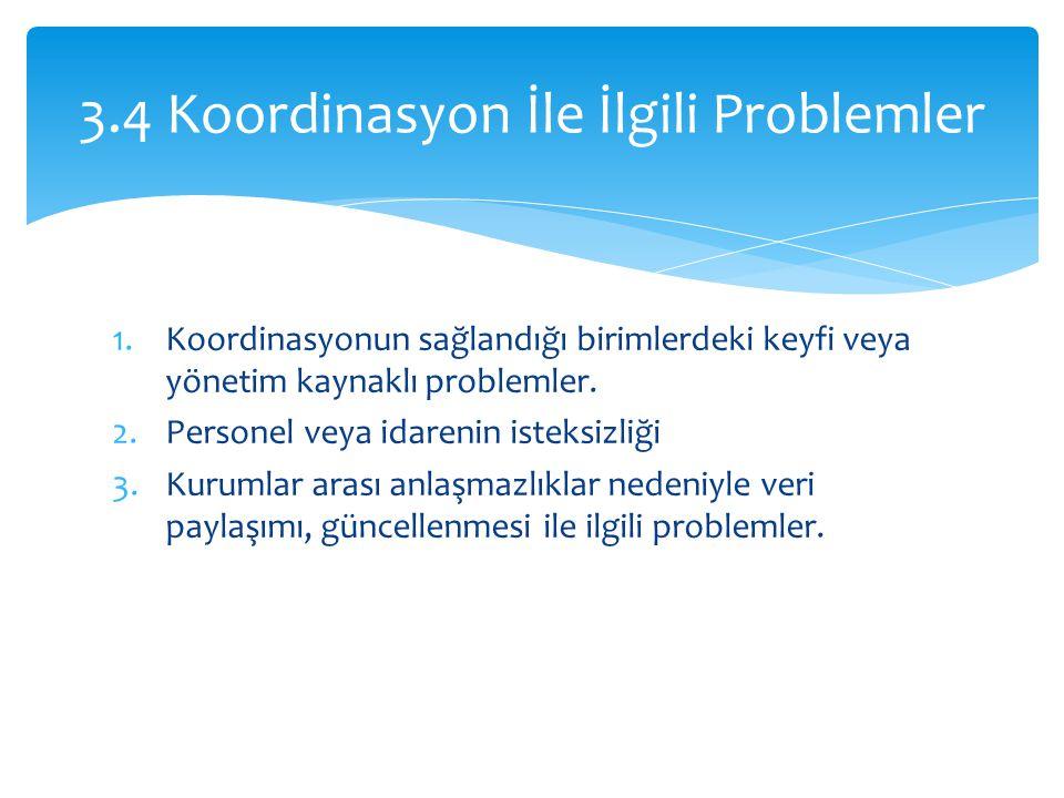 3.4 Koordinasyon İle İlgili Problemler
