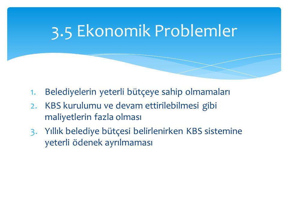 3.5 Ekonomik Problemler Belediyelerin yeterli bütçeye sahip olmamaları