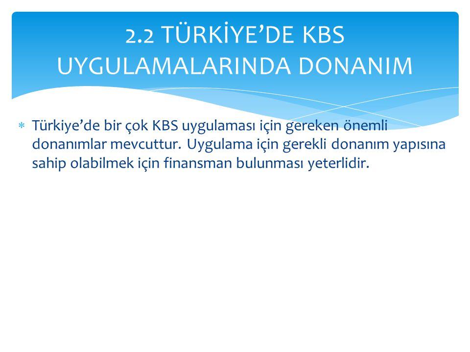 2.2 TÜRKİYE'DE KBS UYGULAMALARINDA DONANIM