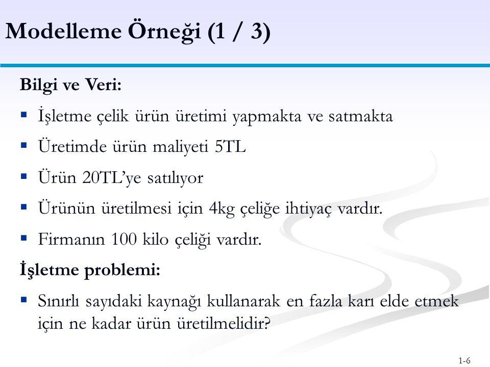 Modelleme Örneği (1 / 3) Bilgi ve Veri: