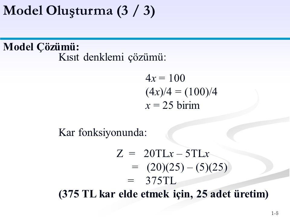 Model Oluşturma (3 / 3) Model Çözümü: Kısıt denklemi çözümü: 4x = 100