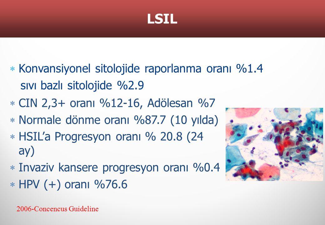LSIL Konvansiyonel sitolojide raporlanma oranı %1.4