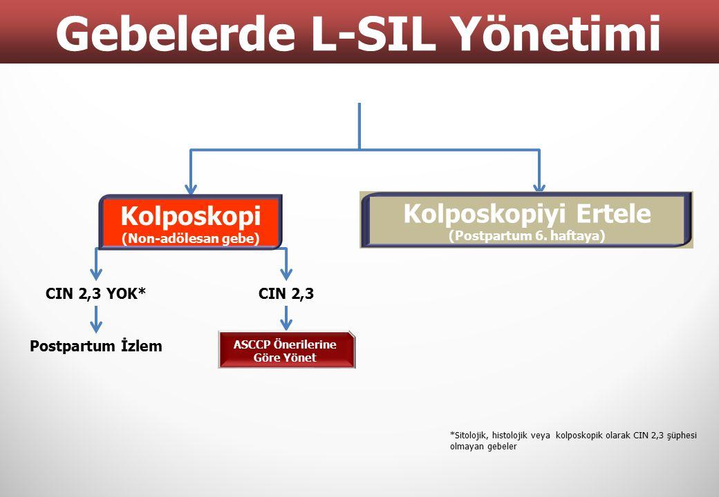 Gebelerde L-SIL Yönetimi ASCCP Önerilerine Göre Yönet