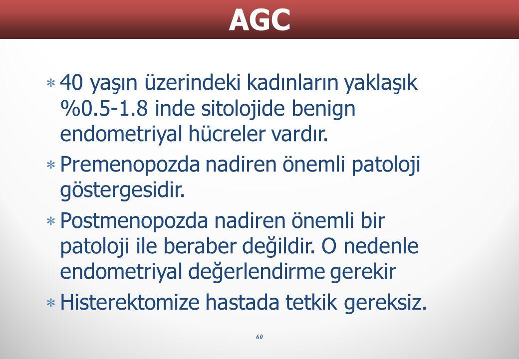 AGC 40 yaşın üzerindeki kadınların yaklaşık %0.5-1.8 inde sitolojide benign endometriyal hücreler vardır.