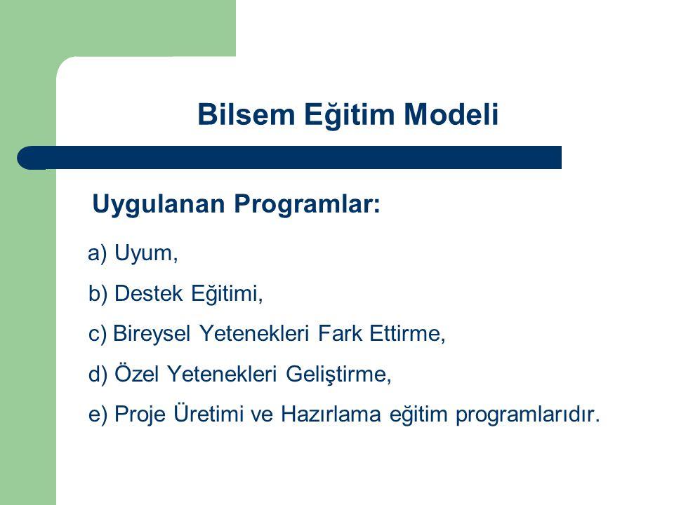 Bilsem Eğitim Modeli Uygulanan Programlar: