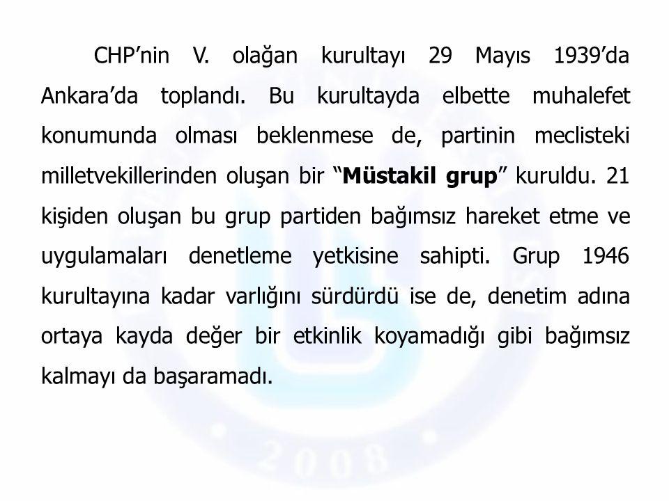 CHP'nin V. olağan kurultayı 29 Mayıs 1939'da Ankara'da toplandı