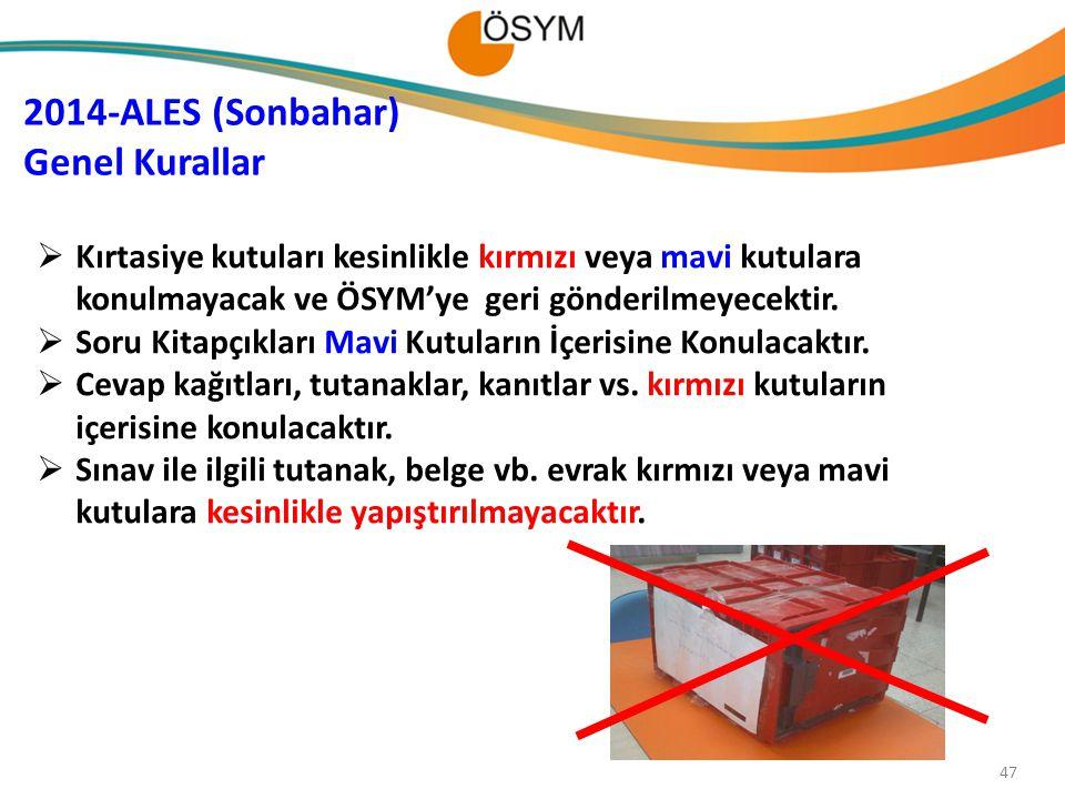 2014-ALES (Sonbahar) Genel Kurallar