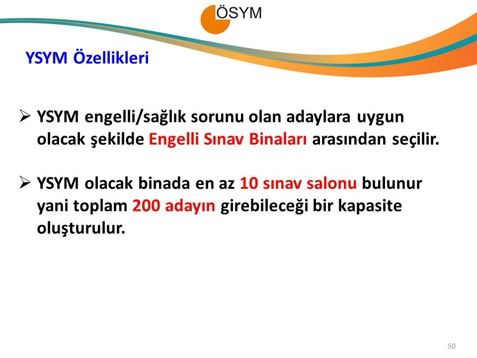 YSYM Özellikleri YSYM engelli/sağlık sorunu olan adaylara uygun olacak şekilde Engelli Sınav Binaları arasından seçilir.