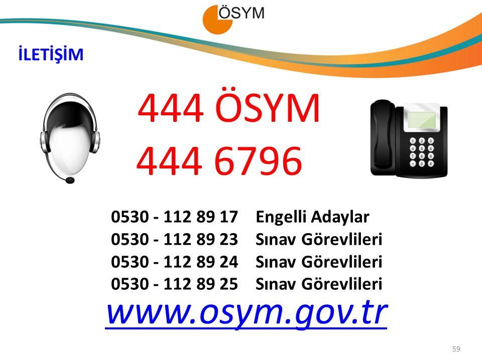 444 ÖSYM 444 6796 www.osym.gov.tr İLETİŞİM