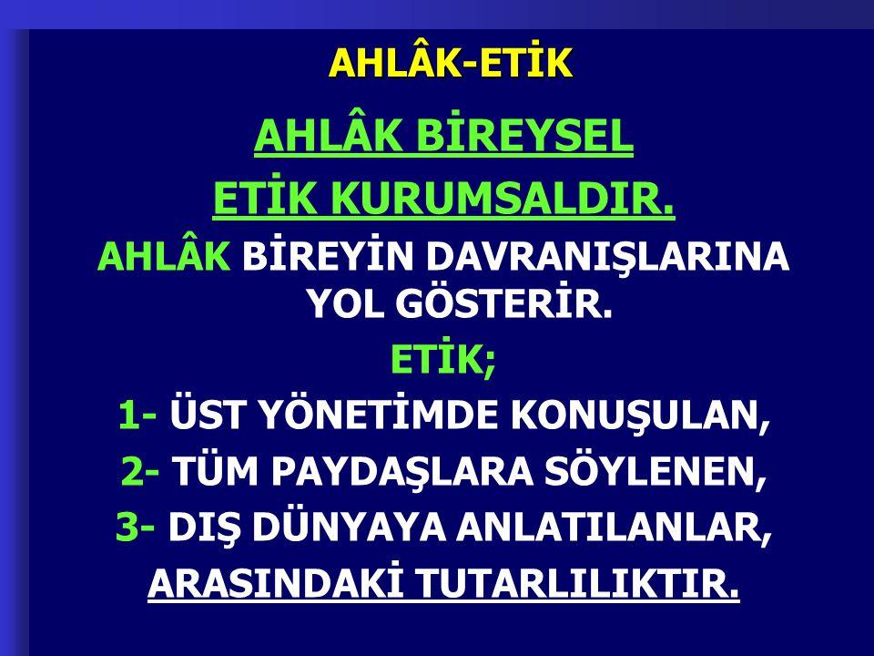 AHLÂK BİREYSEL ETİK KURUMSALDIR.