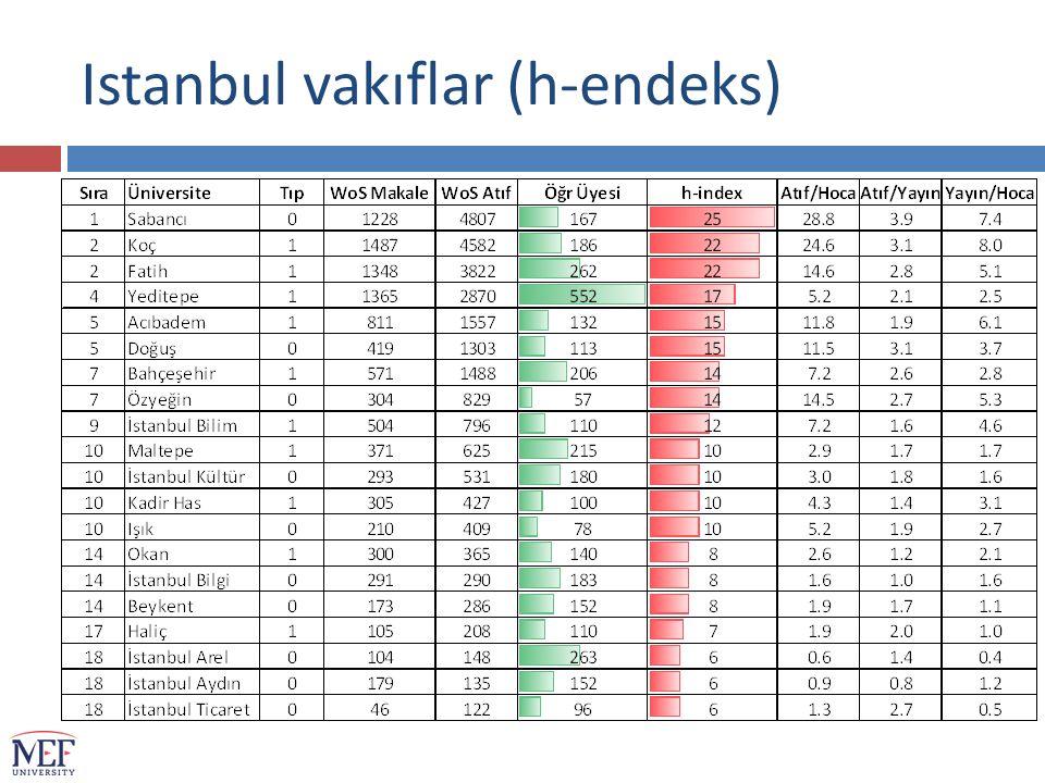 Istanbul vakıflar (h-endeks)