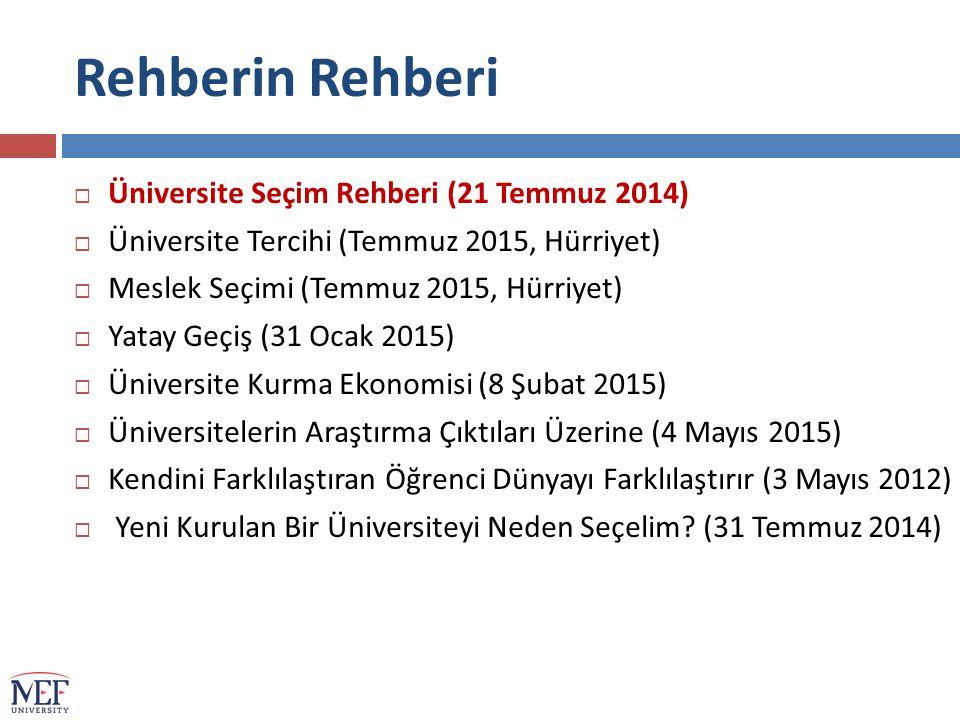 Rehberin Rehberi Üniversite Seçim Rehberi (21 Temmuz 2014)