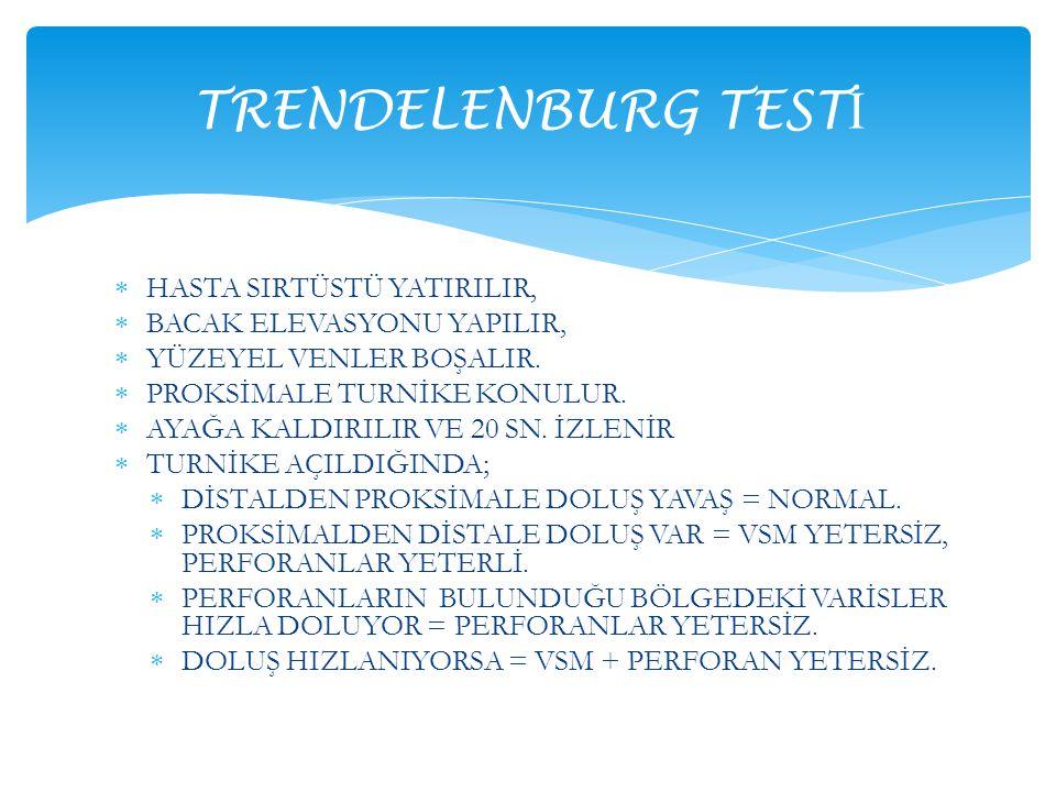 TRENDELENBURG TESTİ HASTA SIRTÜSTÜ YATIRILIR,