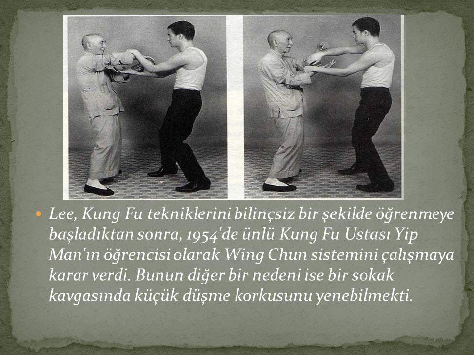 Lee, Kung Fu tekniklerini bilinçsiz bir şekilde öğrenmeye başladıktan sonra, 1954 de ünlü Kung Fu Ustası Yip Man ın öğrencisi olarak Wing Chun sistemini çalışmaya karar verdi.