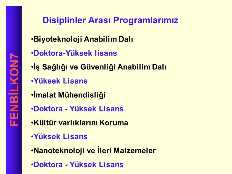 FENBİLKON7 Disiplinler Arası Programlarımız