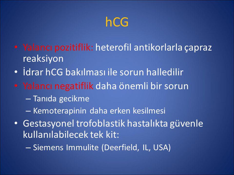 hCG Yalancı pozitiflik: heterofil antikorlarla çapraz reaksiyon