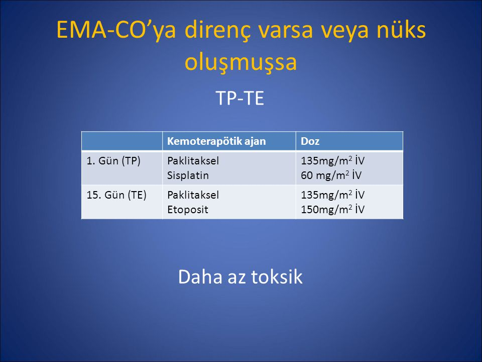 EMA-CO'ya direnç varsa veya nüks oluşmuşsa