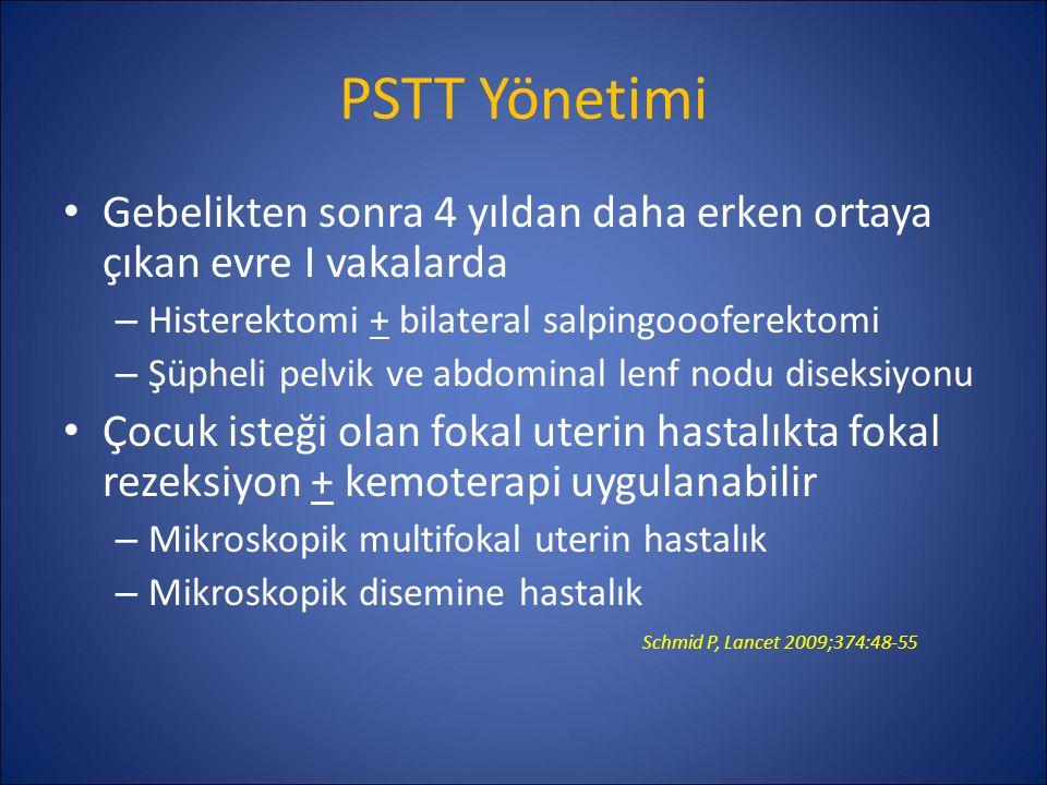 PSTT Yönetimi Gebelikten sonra 4 yıldan daha erken ortaya çıkan evre I vakalarda. Histerektomi + bilateral salpingoooferektomi.