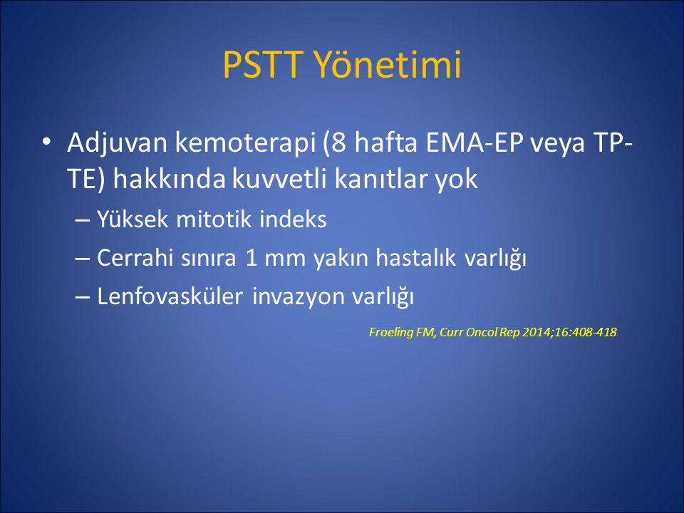PSTT Yönetimi Adjuvan kemoterapi (8 hafta EMA-EP veya TP-TE) hakkında kuvvetli kanıtlar yok. Yüksek mitotik indeks.