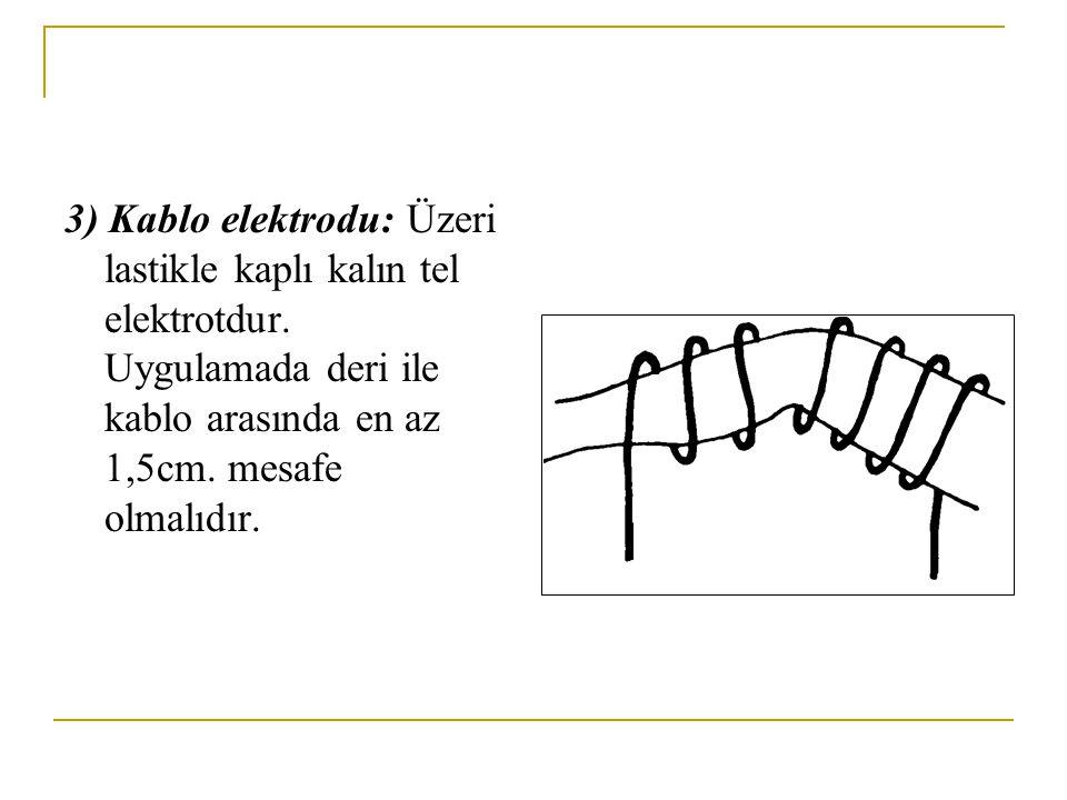 3) Kablo elektrodu: Üzeri lastikle kaplı kalın tel elektrotdur