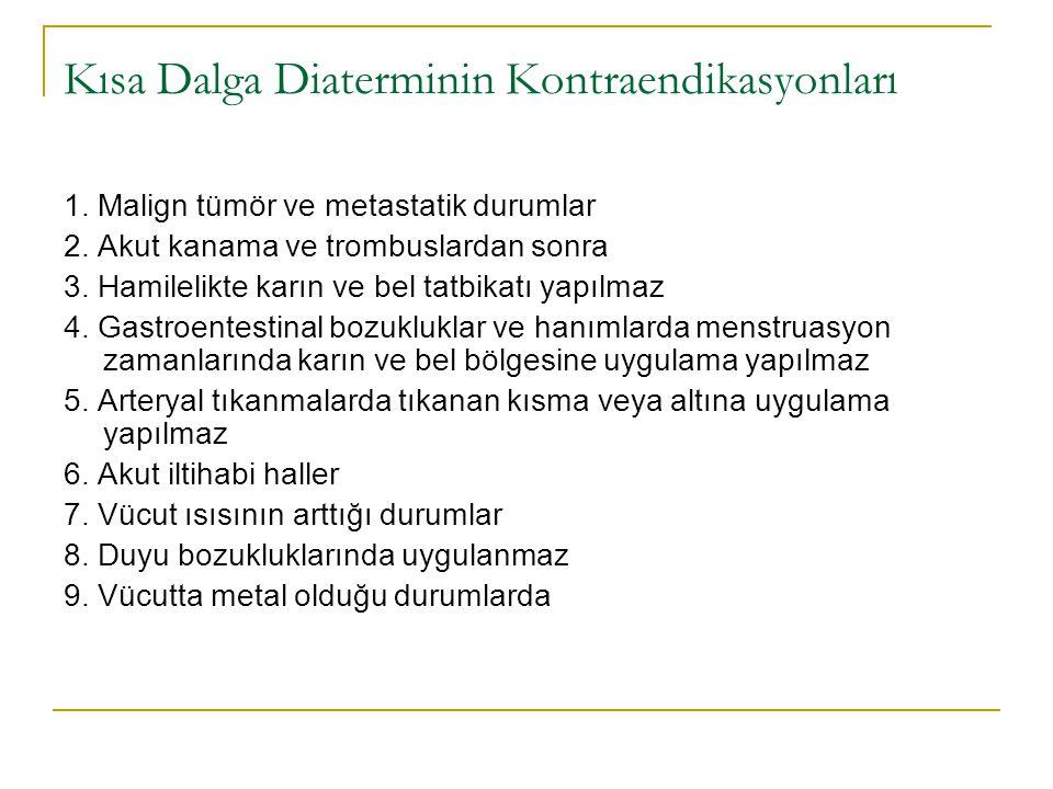 Kısa Dalga Diaterminin Kontraendikasyonları