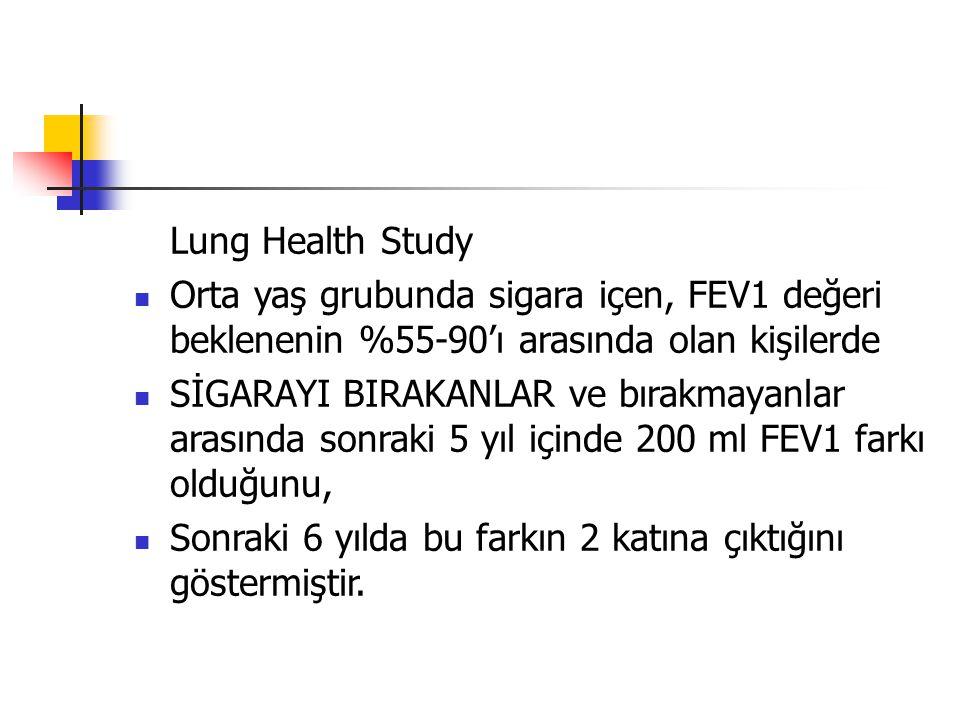 Lung Health Study Orta yaş grubunda sigara içen, FEV1 değeri beklenenin %55-90'ı arasında olan kişilerde.