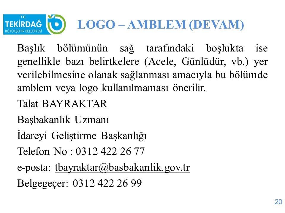LOGO – AMBLEM (DEVAM)